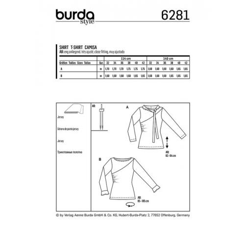 Patron Burda 6281 : T-shirt Taille 32-42