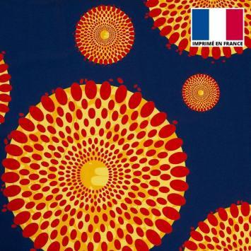 Tissu microfibre bleu motif wax cercles rouges et jaunes tp8