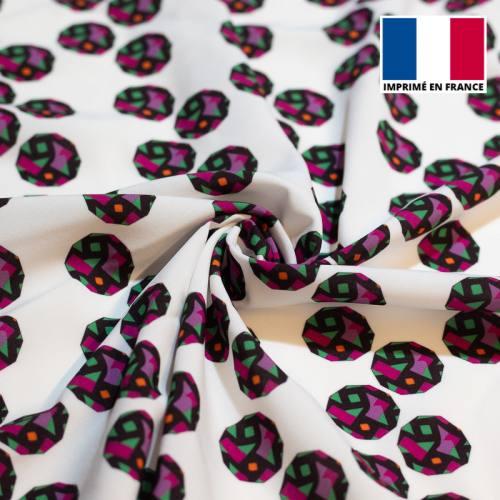 Tissu microfibre blanc motif wax pois irréguliers tp5