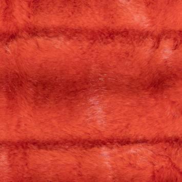 Fausse fourrure rayée orange sanguine