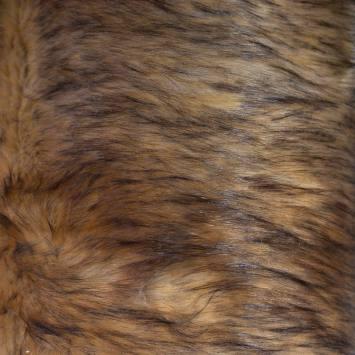 Fausse fourrure soyeuse mouchetée marron et noire