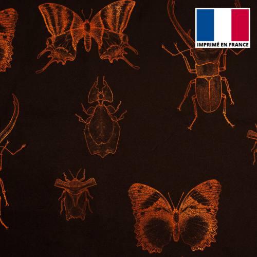 Velours ras noir insectes orange sanguine