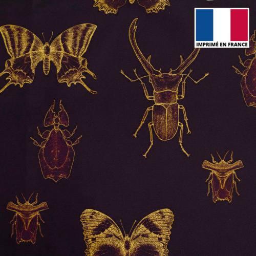 Velours aubergine imprimé insectes jaunes