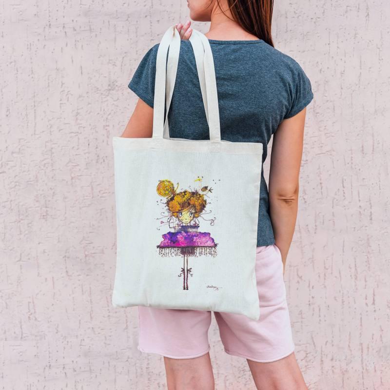 Coupon toile canvas fillette et mouette - Création Audrey Baudo