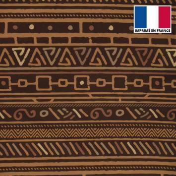 Velours ras imprimé wax ethnique nuances de marron tp9