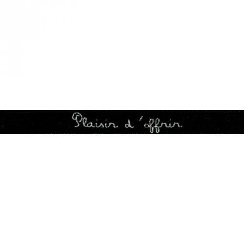 """Ruban écriture """"plaisir d'offrir"""" noir et argenté"""