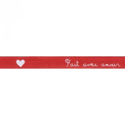 """Ruban écriture """"fait avec amour"""" de couleur rouge"""