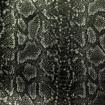 Simili cuir croco motif snake noir et argent