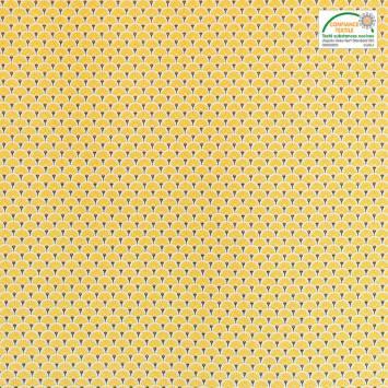 Coton imprimé éventails jaune et or