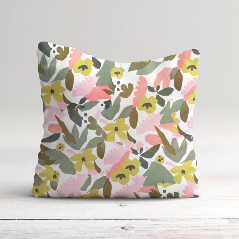 Toile coton blanc cassé motif géo jungle vert et rose hania