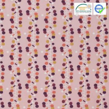 coupon - Coupon 45cm - Coton rose motif bulodi