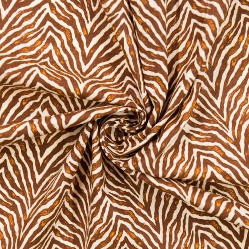 coupon - Coupon 33cm - Coton écru imprimé zèbre marron