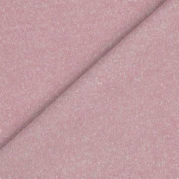 Tissu molleton french terry rose pailleté