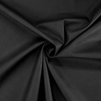 coupon - Coupon 75x135cm - Simili cuir extensible perforé noir