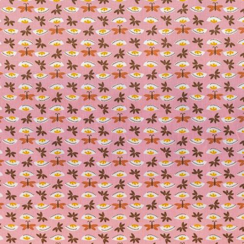 Coton rose imprimé fleur et papillon marron et ocre sasaki