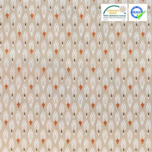 Coton grège imprimé plume blanche et orange pilam