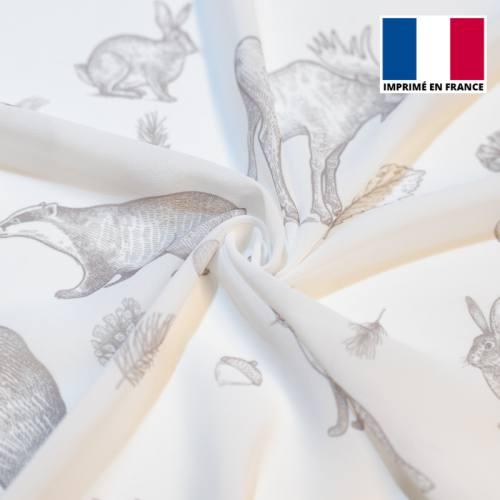 Mousseline crêpe blanche imprimée faune et flore automnale grise