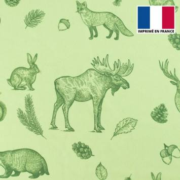 Mousseline crêpe vert tilleul imprimée faune et flore automnale verte