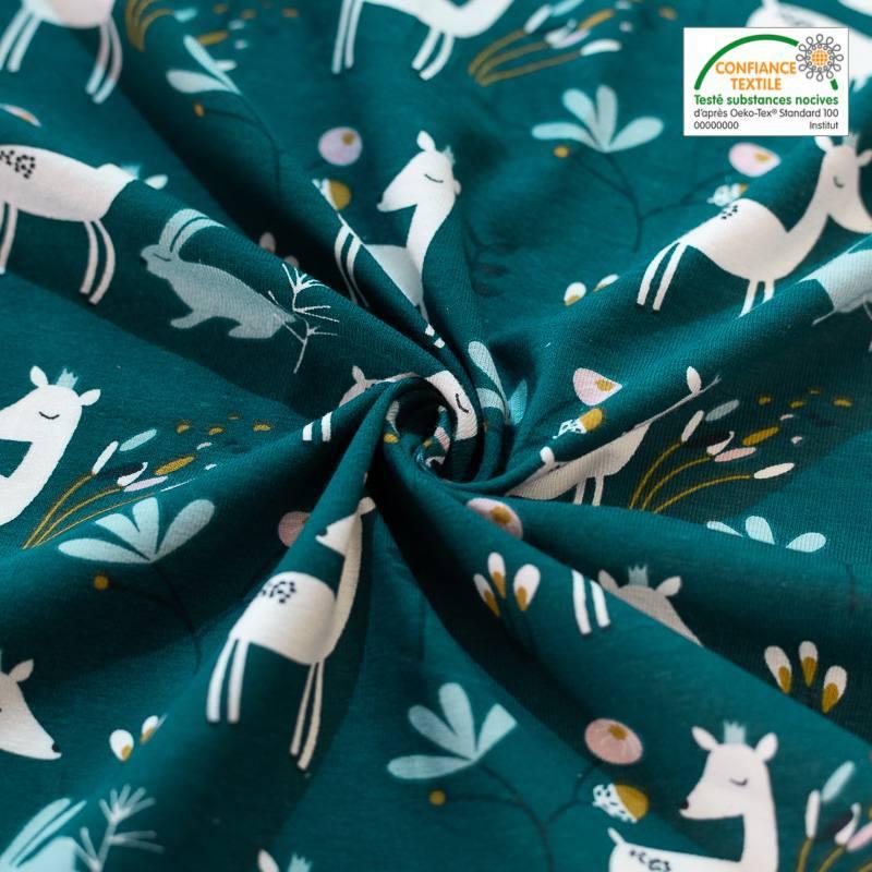Jersey bleu canard motif lapin et biche faola