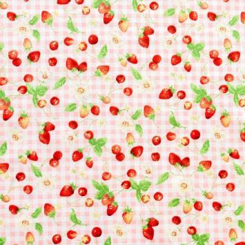 Coton à carreaux blanc et rose imprimé fruits rouges