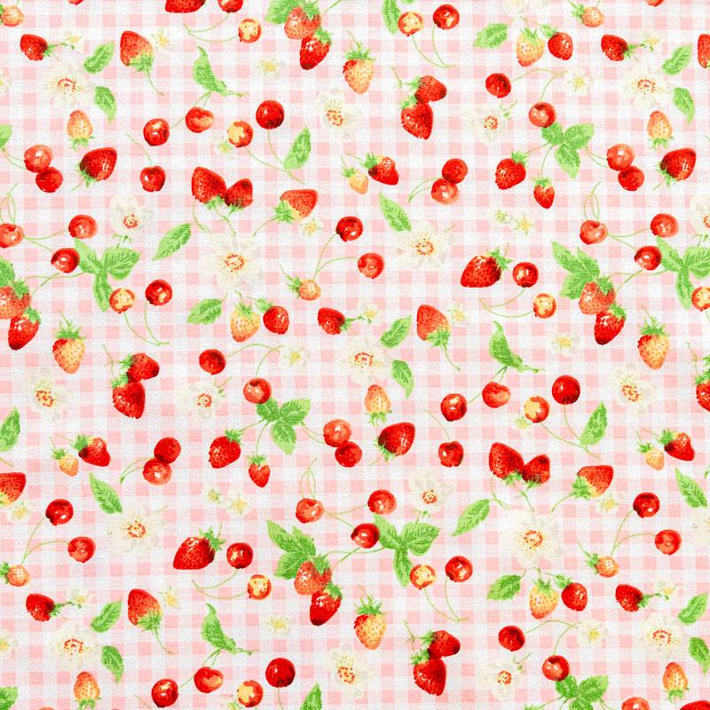 Coton à carreaux blanc et rose imprimé fruits rouges