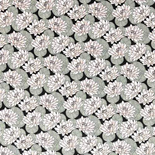 Coton noir motif nénuphar rose pâle