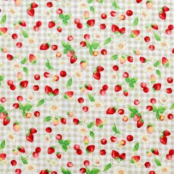 Coton à carreaux blanc et beige imprimé fruits rouges