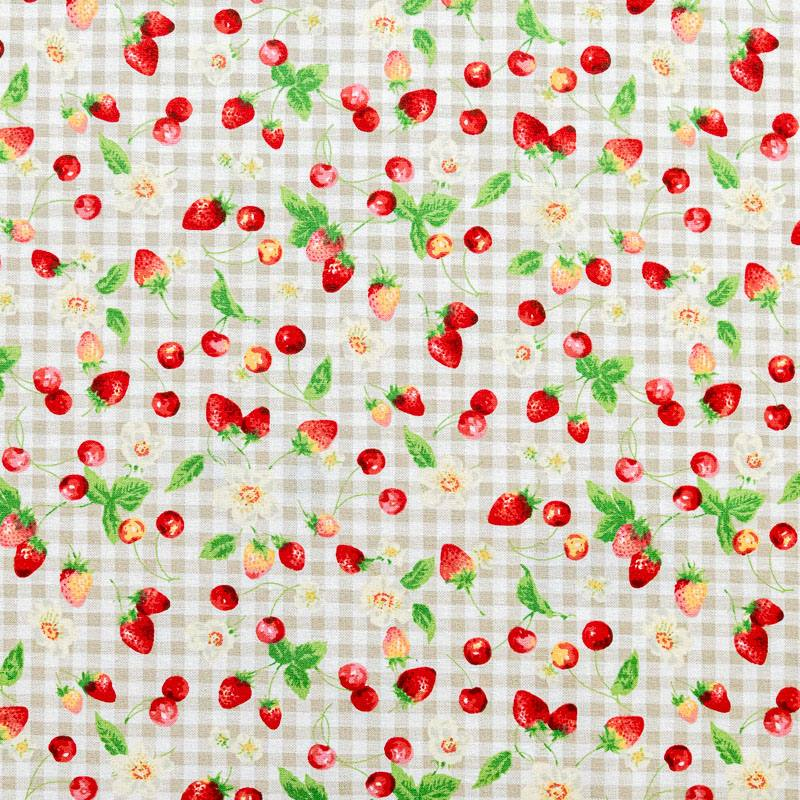 Coton à carreaux blanc et beige imprimé fruits rouges