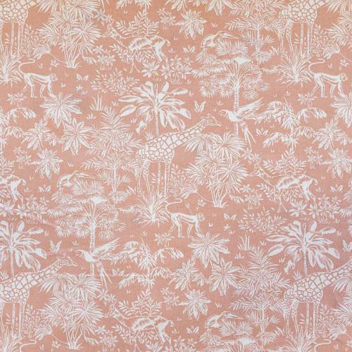 Coton vieux rose motif savane blanche