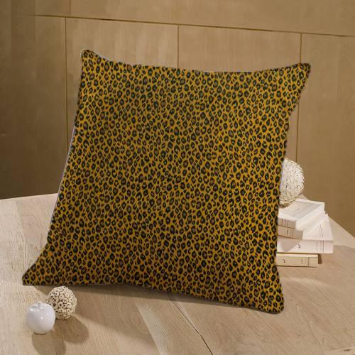 Coton ocre imprimé léopard