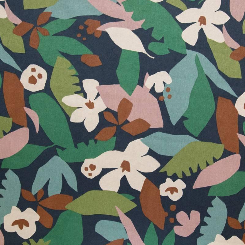 Toile coton bleu marine motif géo jungle vert et bleu hania