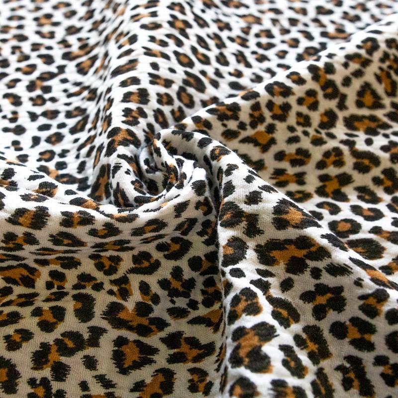 Double gaze blanc imprimé léopard