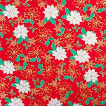 Coton de Noël rouge imprimé houx doré