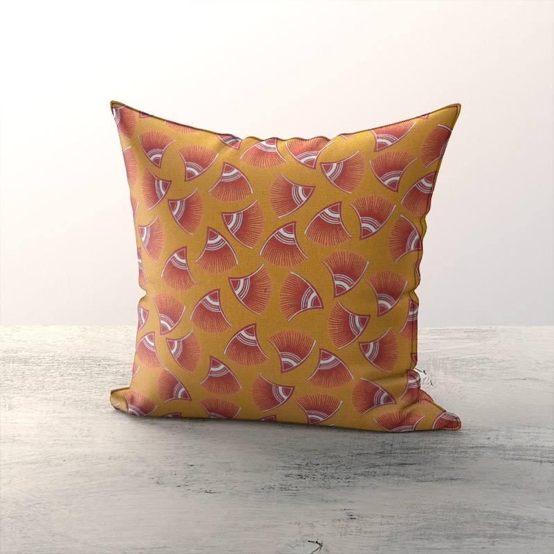 Toile coton ocre aspect lin motif look rouge