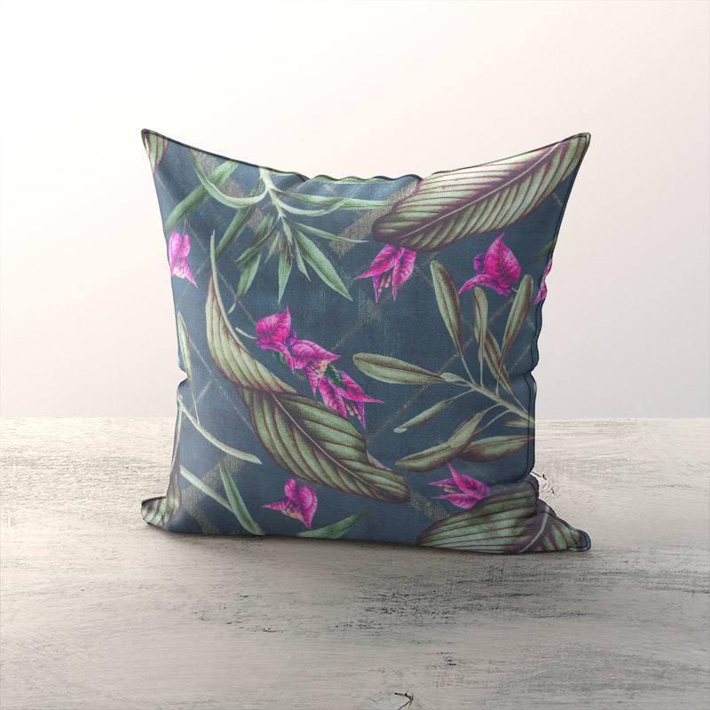 Toile coton bleue grise motif bougainvillier
