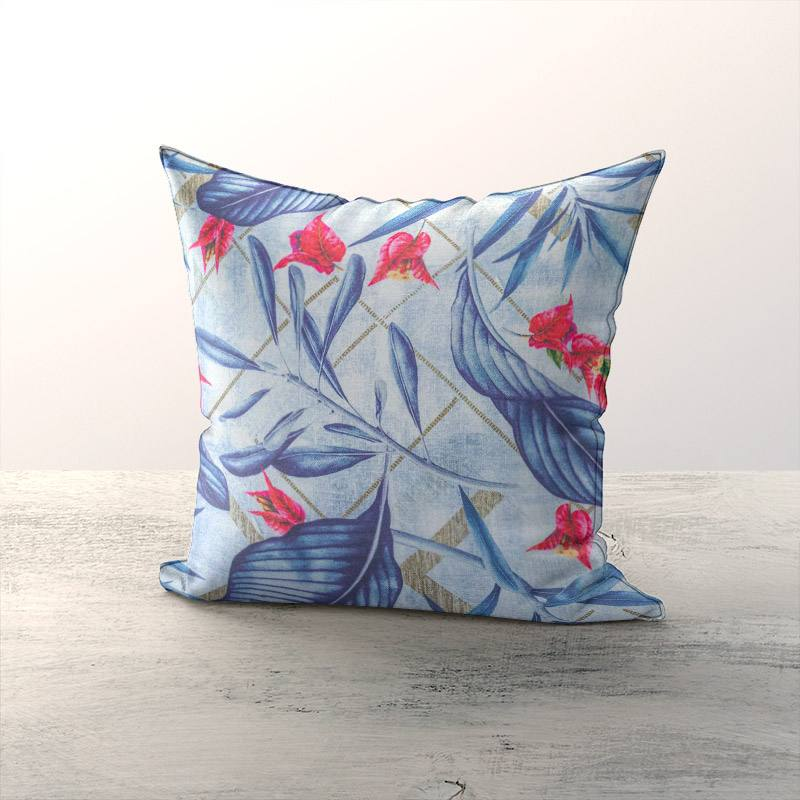 Toile coton bleue motif bougainvillier