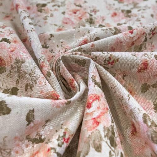 Toile polycoton aspect lin imprimée fleur rose