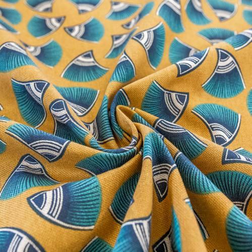 Toile coton ocre aspect lin motif look bleu