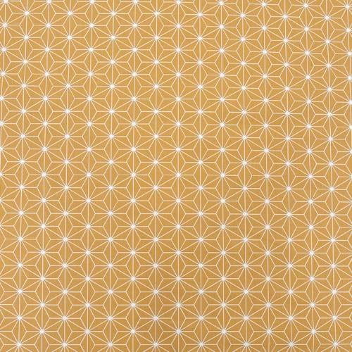Coton ocre grand motif asanoha blanc