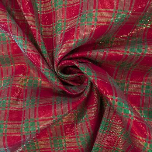 Tissu polycoton écossais Noël brillant vert et rouge