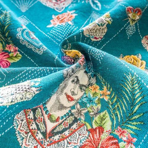 Tissu jacquard bleu motif tête de mort et femme mexicaine