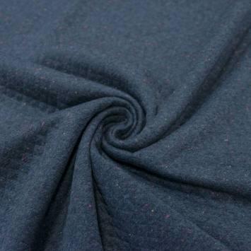 Jersey matelassé bleu jean chiné multicolore