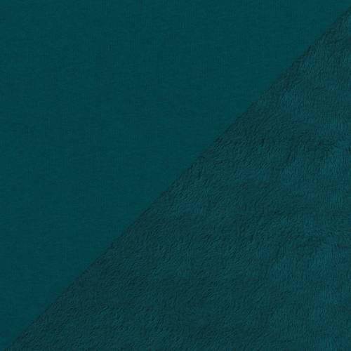 Tissu molleton bleu paon envers polaire
