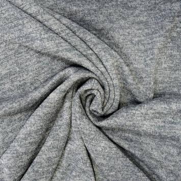 Jersey lainage brillant gris clair chiné