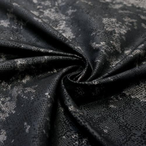 Tissu bengaline noir imprimé argenté