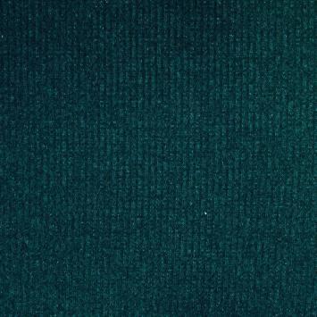 Tissu jersey maille côtelée bleu vert chiné pailletée