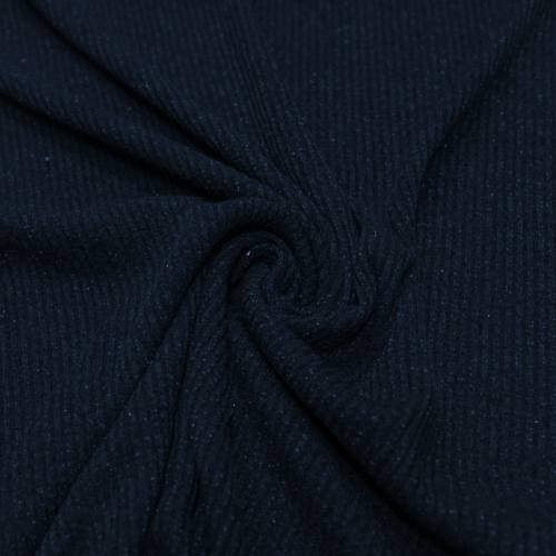 Tissu jersey maille côtelée bleu nuit pailletée