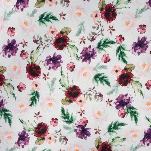 Jersey blanc motif fleurs de jardin rouges, roses et violettes