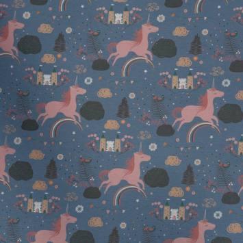Jersey gris bleu motif licorne rose