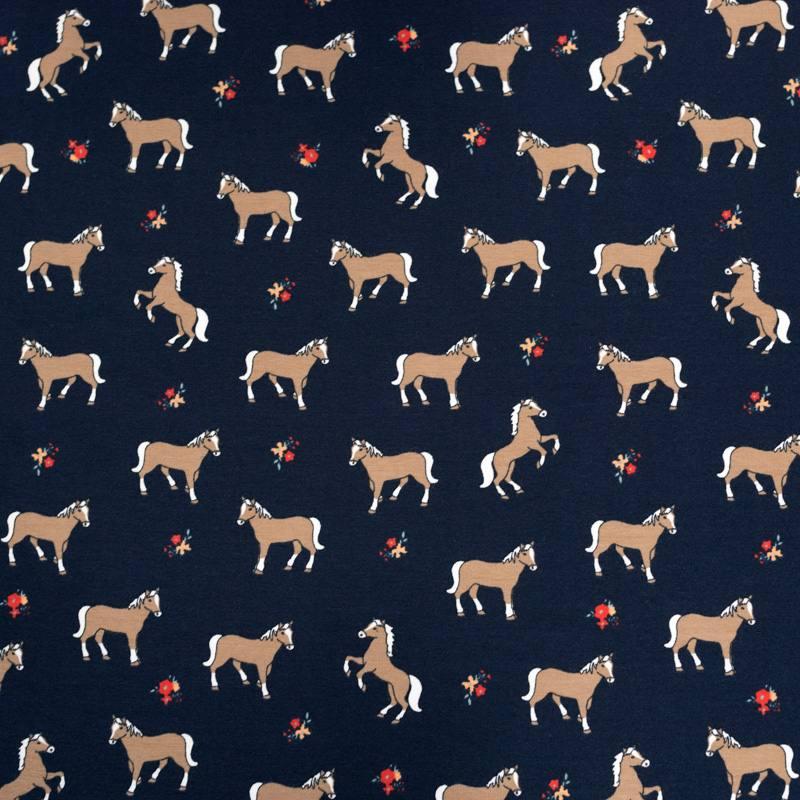 Jersey bleu marine motif chevaux marron